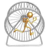 Gold man on hamster wheel Fotolia 6005764 S